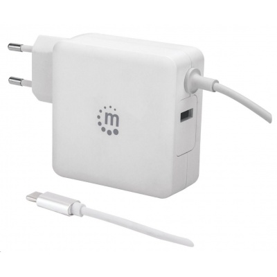 MANHATTAN USB nabíječka Power Delivery Wall Charger with Built-in USB-C Cable – 60 W, bílá